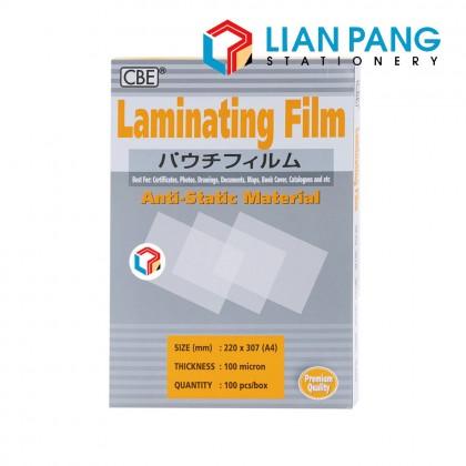 CBE Laminating Film 7 Sizes Available 100 Sheets