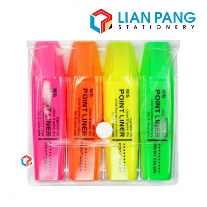 M&G Highlight Pen Point Linear 4 Colour In Set